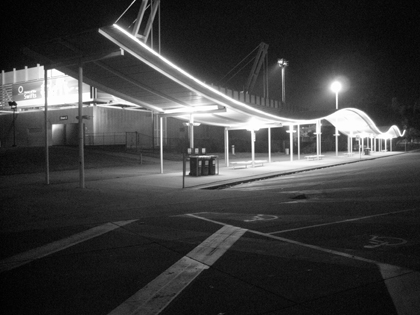Black and White photo of a bus stop at Sydney Olympic Park