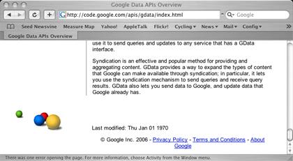 Google GData last updated date screenshot