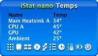 iStat nano displaying temperature